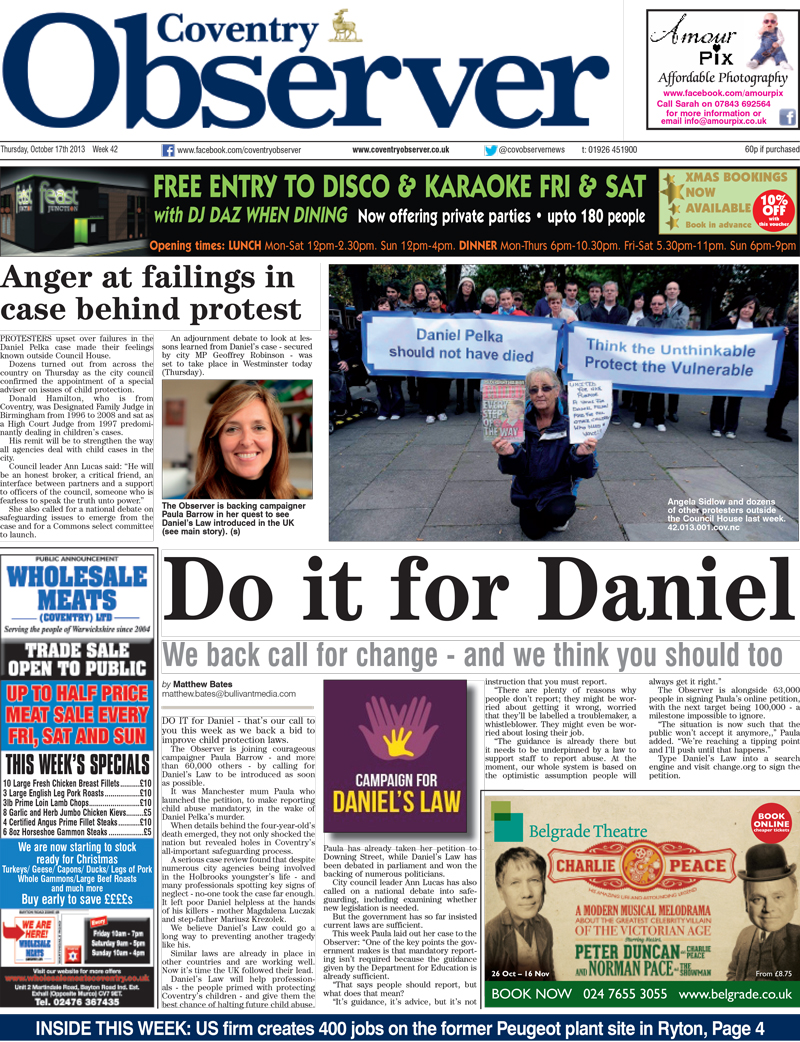 Campaign for Daniel's Law - Coventry Observer - Do it for Daniel